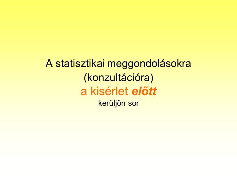 A statisztikai meggondolásokra (konzultációra) a kisérlet előtt kerüljön sor