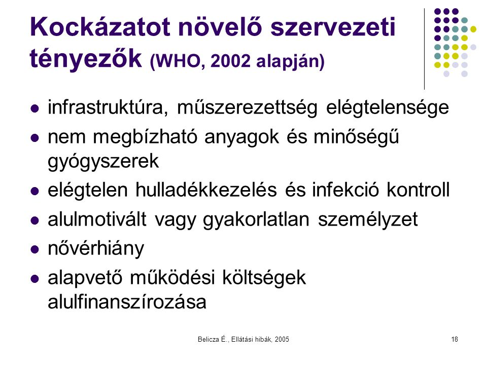 Belicza É., Ellátási hibák, 200518 Kockázatot növelő szervezeti tényezők (WHO, 2002 alapján) infrastruktúra, műszerezettség elégtelensége nem megbízha