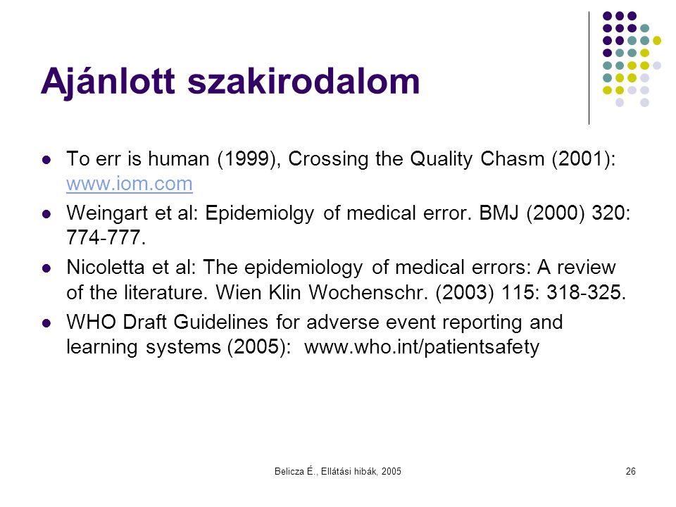 Belicza É., Ellátási hibák, 200526 Ajánlott szakirodalom To err is human (1999), Crossing the Quality Chasm (2001): www.iom.com www.iom.com Weingart e