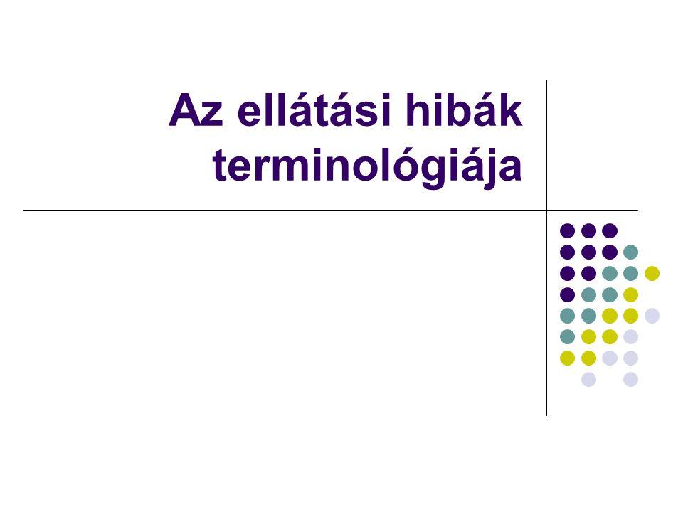 Belicza É., Ellátási hibák, 20054 Terminológia (IOM, 1999, WHO, 2005) Biztonság (safety): Mentesség az akaratlan bántalomtól.