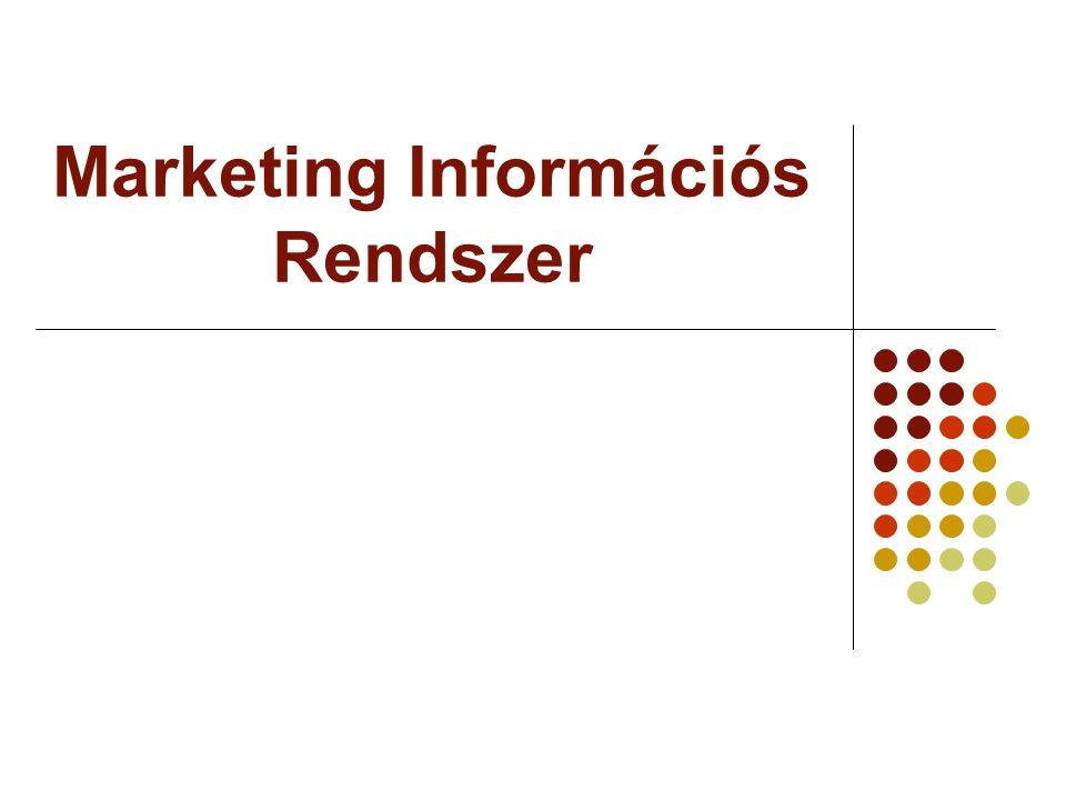 Marketing elemző rendszer Marketing Információs Rendszer Belső nyilvántartási rendszer Marketing figyelési rendszer Marketing kutató rendszer Marketing elemző rendszer Az összegyűjtött adatokat tárolja és elemzi – számítógépes rendszer segítségével döntési variációkat készít a felsővezetés, a menendzsment számára.