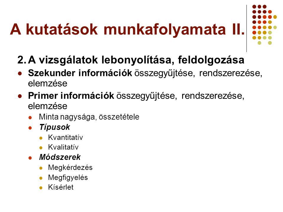A kutatások munkafolyamata II. 2.A vizsgálatok lebonyolítása, feldolgozása Szekunder információk összegyűjtése, rendszerezése, elemzése Primer informá