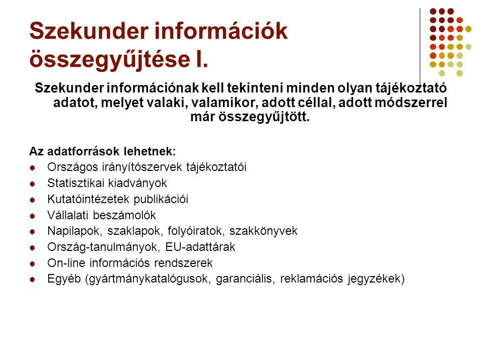 Szekunder információk összegyűjtése I. Szekunder információnak kell tekinteni minden olyan tájékoztató adatot, melyet valaki, valamikor, adott céllal,