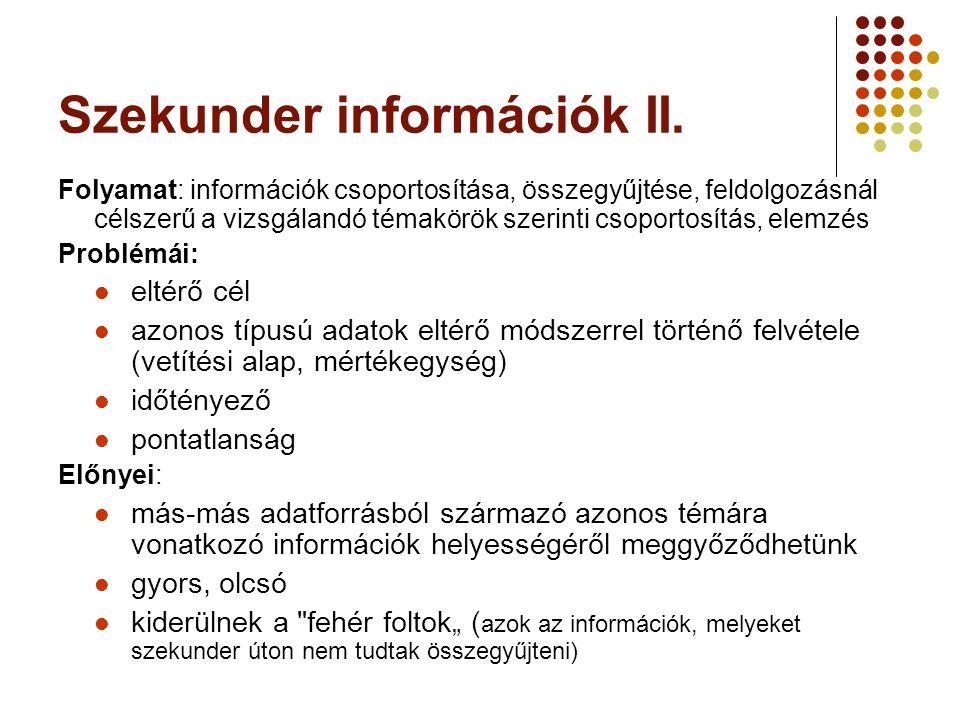 Szekunder információk II. Folyamat: információk csoportosítása, összegyűjtése, feldolgozásnál célszerű a vizsgálandó témakörök szerinti csoportosítás,