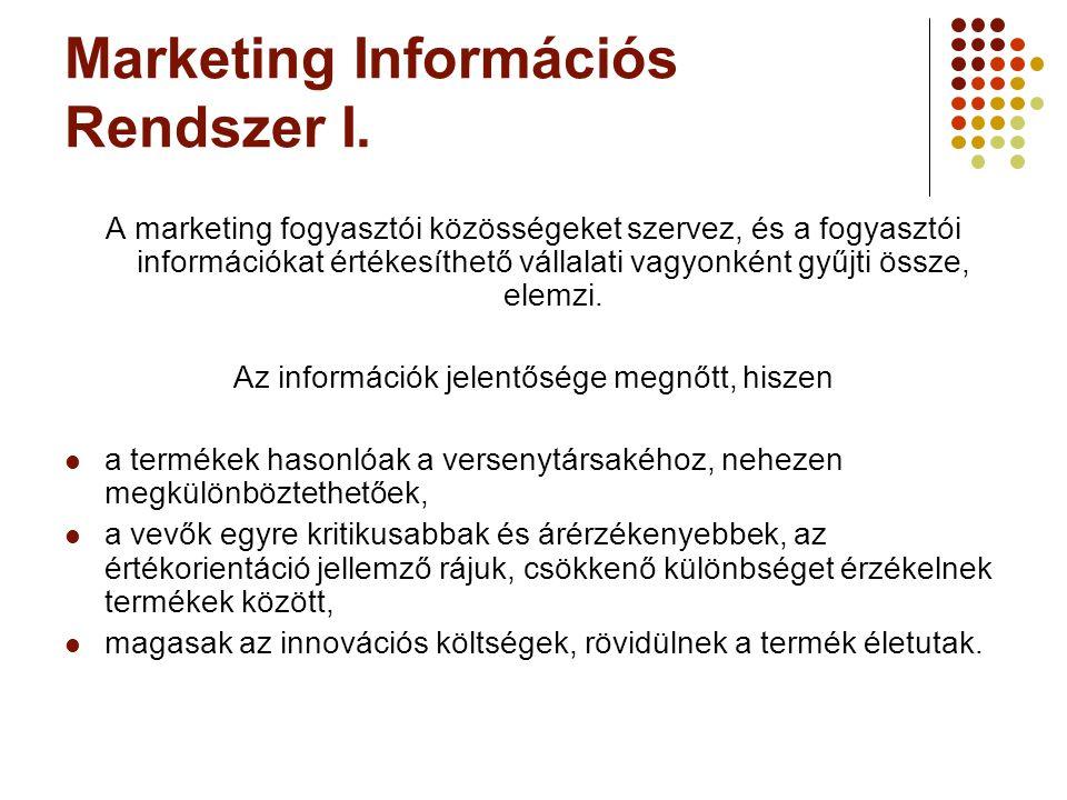 Marketing Információs Rendszer I. A marketing fogyasztói közösségeket szervez, és a fogyasztói információkat értékesíthető vállalati vagyonként gyűjti