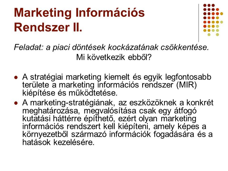 Marketing Információs Rendszer II. Feladat: a piaci döntések kockázatának csökkentése. Mi következik ebből? A stratégiai marketing kiemelt és egyik le