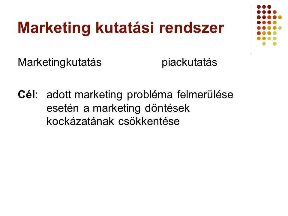 Marketingkutatás felhasználási területei A piaci helyzet vizsgálata általános piackép vállalatspecifikus összehasonlító Termékfejlelsztés, terméktesztelés Márkamenedzsment Árvizsgálatok Értékesítési csatornára vonatkozó vizsgálatok Kampánytesztelés, kommunikációs anyagok tesztelése Beszerzéskutatás Vevőköranalízis, ügyfélelégedettség, ügyféllojalitás