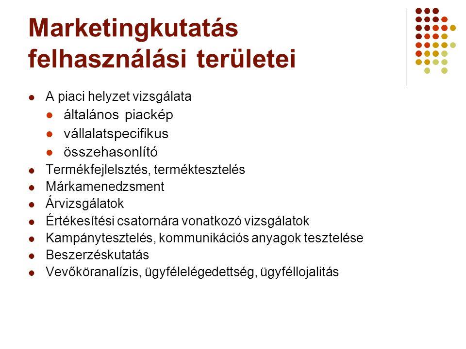 Marketingkutatás felhasználási területei A piaci helyzet vizsgálata általános piackép vállalatspecifikus összehasonlító Termékfejlelsztés, termékteszt