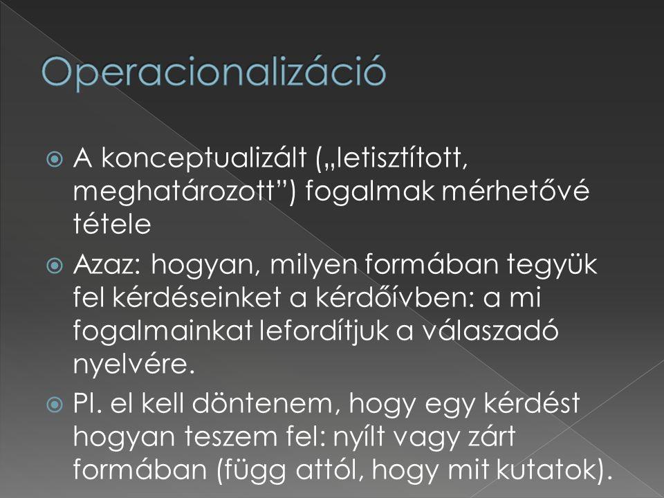 """ A konceptualizált (""""letisztított, meghatározott"""") fogalmak mérhetővé tétele  Azaz: hogyan, milyen formában tegyük fel kérdéseinket a kérdőívben: a"""