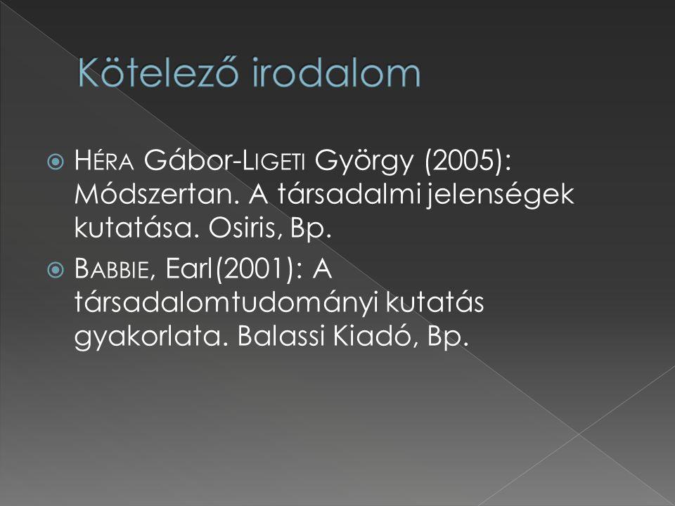  H ÉRA Gábor-L IGETI György (2005): Módszertan. A társadalmi jelenségek kutatása. Osiris, Bp.  B ABBIE, Earl(2001): A társadalomtudományi kutatás gy