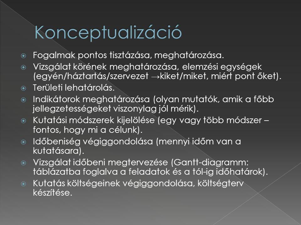 Konceptualizáció: › a vizsgálat során használt fogalmak pontos tisztázása, meghatározása (pl.