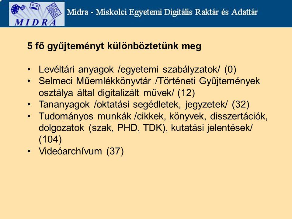 5 fő gyűjteményt különböztetünk meg Levéltári anyagok /egyetemi szabályzatok/ (0) Selmeci Műemlékkönyvtár /Történeti Gyűjtemények osztálya által digitalizált művek/ (12) Tananyagok /oktatási segédletek, jegyzetek/ (32) Tudományos munkák /cikkek, könyvek, disszertációk, dolgozatok (szak, PHD, TDK), kutatási jelentések/ (104) Videóarchívum (37)