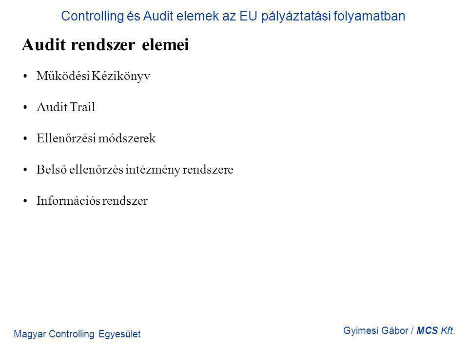 Magyar Controlling Egyesület Gyimesi Gábor / MCS Kft. Audit rendszer elemei Működési Kézikönyv Audit Trail Ellenőrzési módszerek Belső ellenőrzés inté
