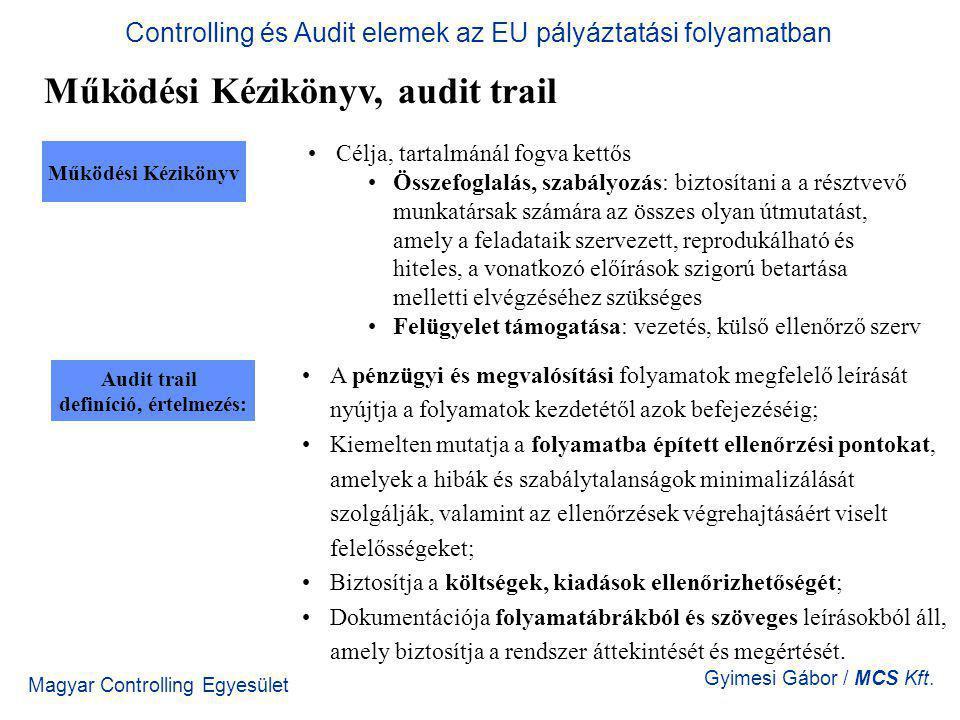 Magyar Controlling Egyesület Gyimesi Gábor / MCS Kft. Működési Kézikönyv, audit trail Controlling és Audit elemek az EU pályáztatási folyamatban Audit