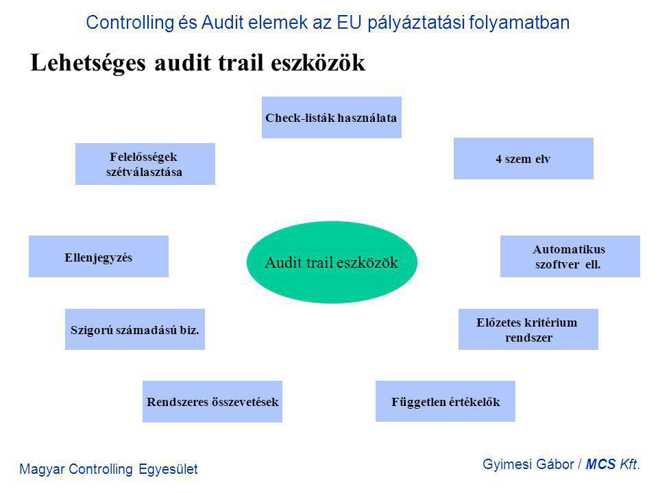 Magyar Controlling Egyesület Gyimesi Gábor / MCS Kft. Lehetséges audit trail eszközök Controlling és Audit elemek az EU pályáztatási folyamatban Felel