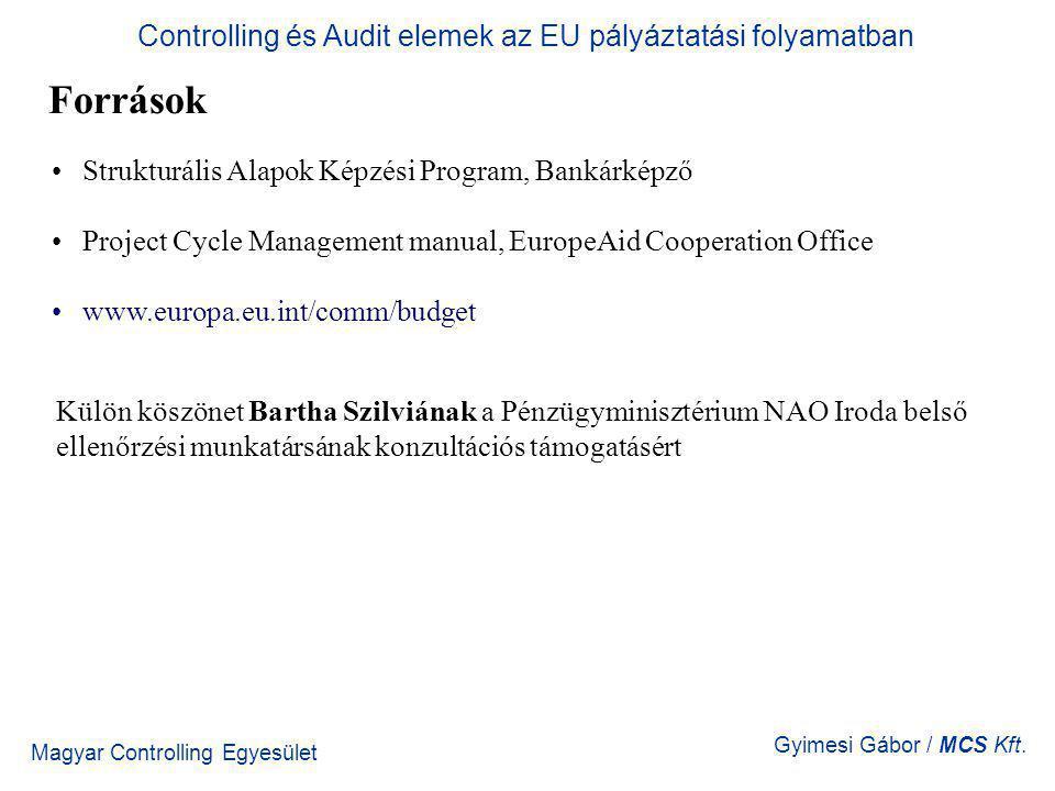 Magyar Controlling Egyesület Gyimesi Gábor / MCS Kft. Források Strukturális Alapok Képzési Program, Bankárképző Project Cycle Management manual, Europ