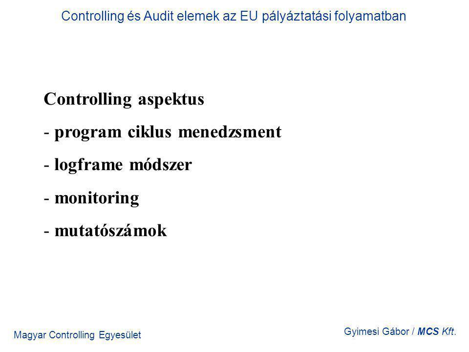 Magyar Controlling Egyesület Gyimesi Gábor / MCS Kft. Controlling aspektus - program ciklus menedzsment - logframe módszer - monitoring - mutatószámok