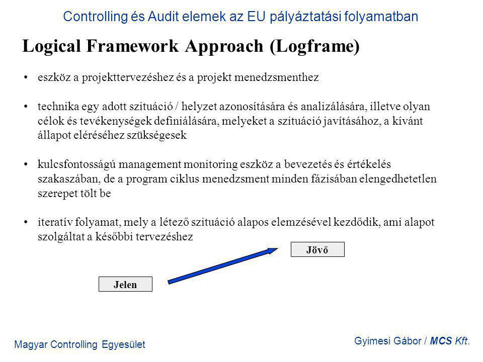 Magyar Controlling Egyesület Gyimesi Gábor / MCS Kft. Logical Framework Approach (Logframe) eszköz a projekttervezéshez és a projekt menedzsmenthez te
