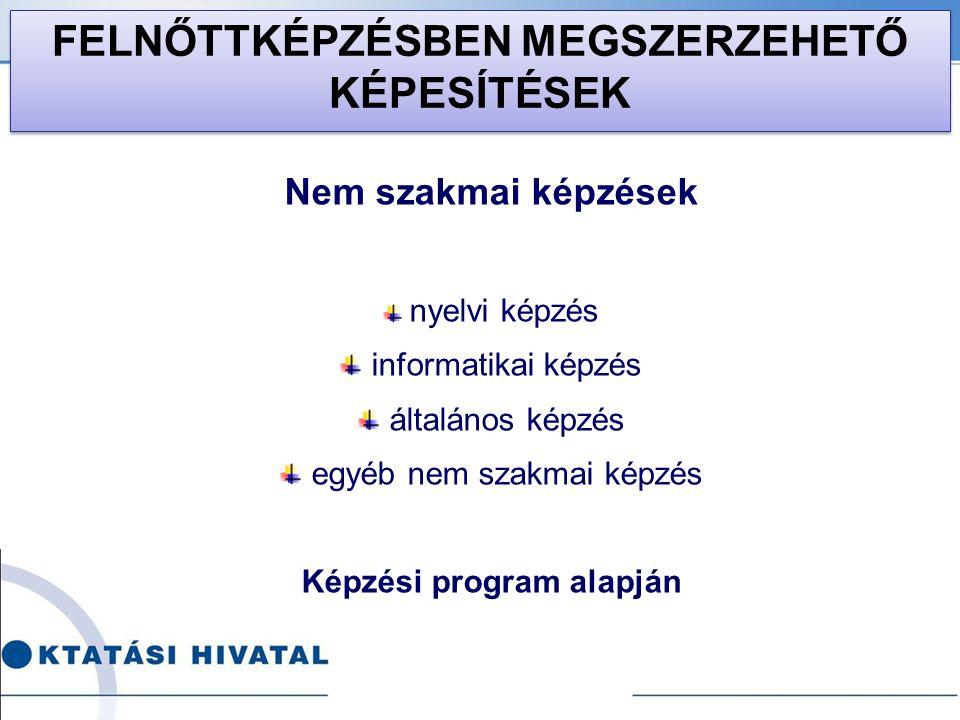 Nem szakmai képzések nyelvi képzés informatikai képzés általános képzés egyéb nem szakmai képzés Képzési program alapján FELNŐTTKÉPZÉSBEN MEGSZERZEHET
