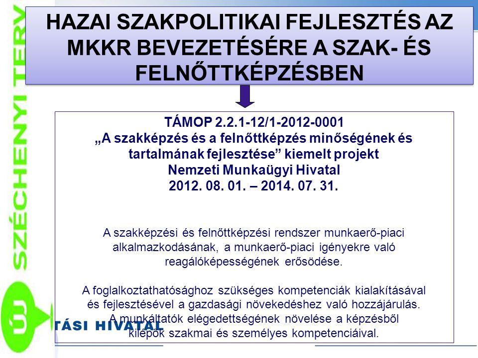 """HAZAI SZAKPOLITIKAI FEJLESZTÉS AZ MKKR BEVEZETÉSÉRE A SZAK- ÉS FELNŐTTKÉPZÉSBEN TÁMOP 2.2.1-12/1-2012-0001 """"A szakképzés és a felnőttképzés minőségéne"""