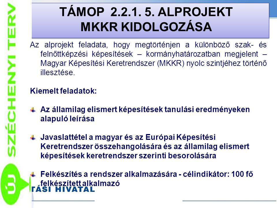 TÁMOP 2.2.1. 5. ALPROJEKT MKKR KIDOLGOZÁSA TÁMOP 2.2.1. 5. ALPROJEKT MKKR KIDOLGOZÁSA Az alprojekt feladata, hogy megtörténjen a különböző szak- és fe