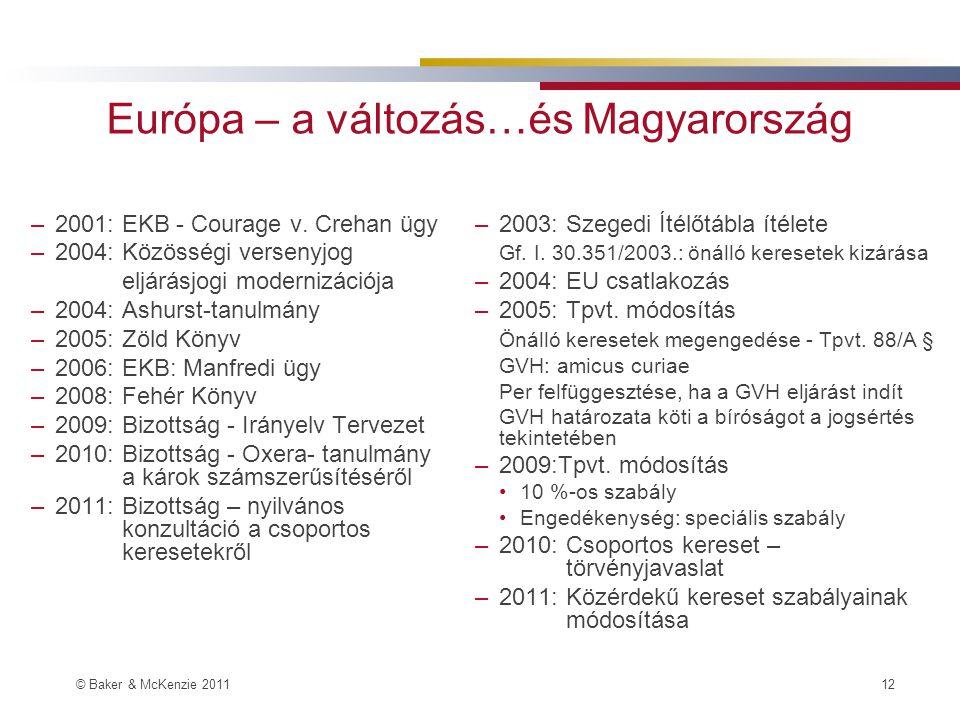© Baker & McKenzie 2011 12 Európa – a változás…és Magyarország –2001: EKB - Courage v.