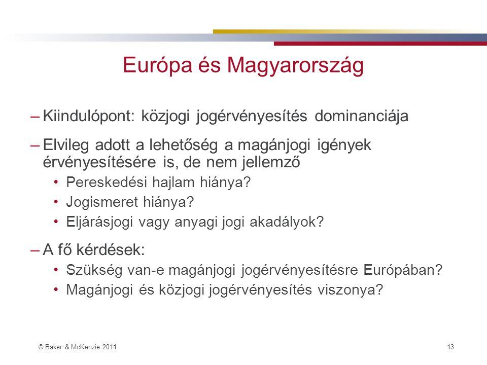 © Baker & McKenzie 2011 13 Európa és Magyarország –Kiindulópont: közjogi jogérvényesítés dominanciája –Elvileg adott a lehetőség a magánjogi igények érvényesítésére is, de nem jellemző Pereskedési hajlam hiánya.