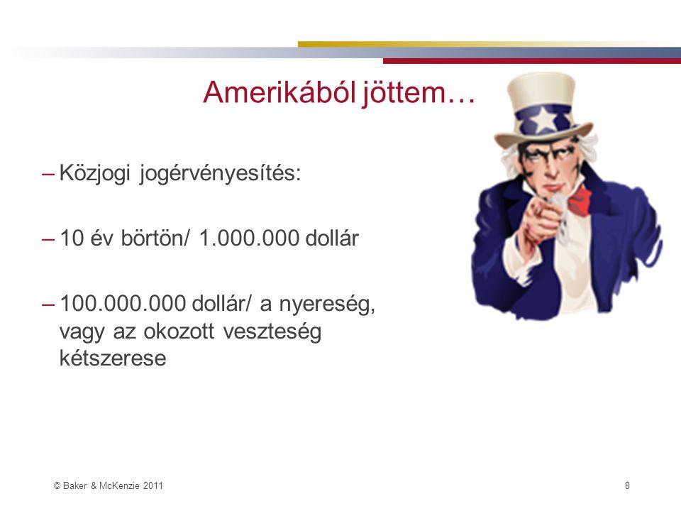 © Baker & McKenzie 2011 8 Amerikából jöttem… –Közjogi jogérvényesítés: –10 év börtön/ 1.000.000 dollár –100.000.000 dollár/ a nyereség, vagy az okozott veszteség kétszerese