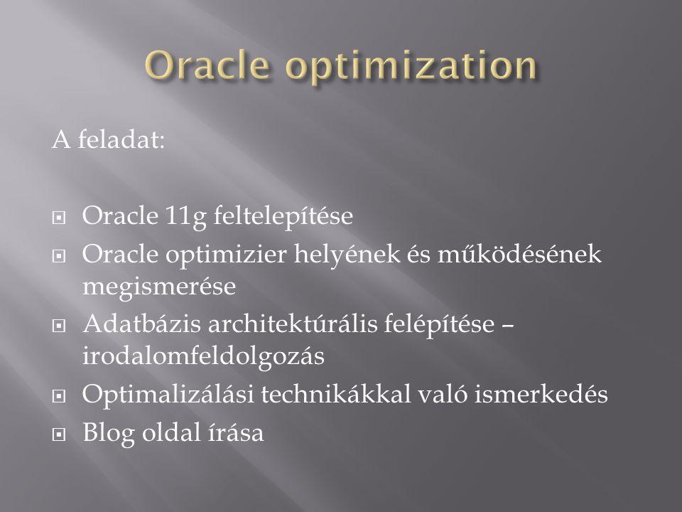 A feladat:  Oracle 11g feltelepítése  Oracle optimizier helyének és működésének megismerése  Adatbázis architektúrális felépítése – irodalomfeldolg