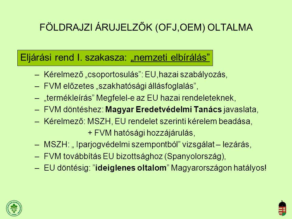 """FÖLDRAJZI ÁRUJELZŐK (OFJ,OEM) OLTALMA Eljárási rend I. szakasza: """"nemzeti elbírálás"""" –Kérelmező """"csoportosulás"""": EU,hazai szabályozás, –FVM előzetes """""""