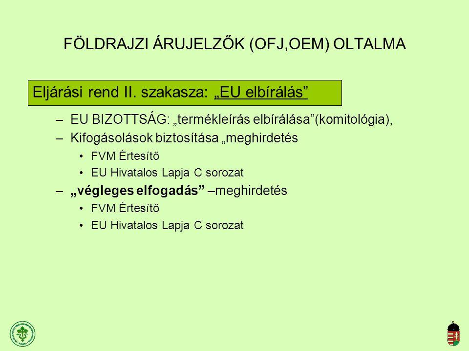 """FÖLDRAJZI ÁRUJELZŐK (OFJ,OEM) OLTALMA Eljárási rend II. szakasza: """"EU elbírálás"""" –EU BIZOTTSÁG: """"termékleírás elbírálása""""(komitológia), –Kifogásolások"""