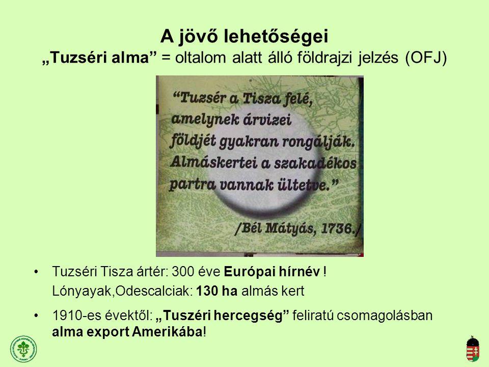 """A jövő lehetőségei """"Tuzséri alma"""" = oltalom alatt álló földrajzi jelzés (OFJ) Tuzséri Tisza ártér: 300 éve Európai hírnév ! Lónyayak,Odescalciak: 130"""