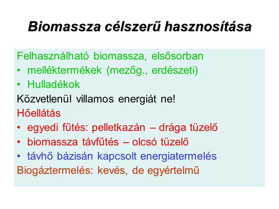 Biomassza célszerű hasznosítása Felhasználható biomassza, elsősorban melléktermékek (mezőg., erdészeti) Hulladékok Közvetlenül villamos energiát ne! H