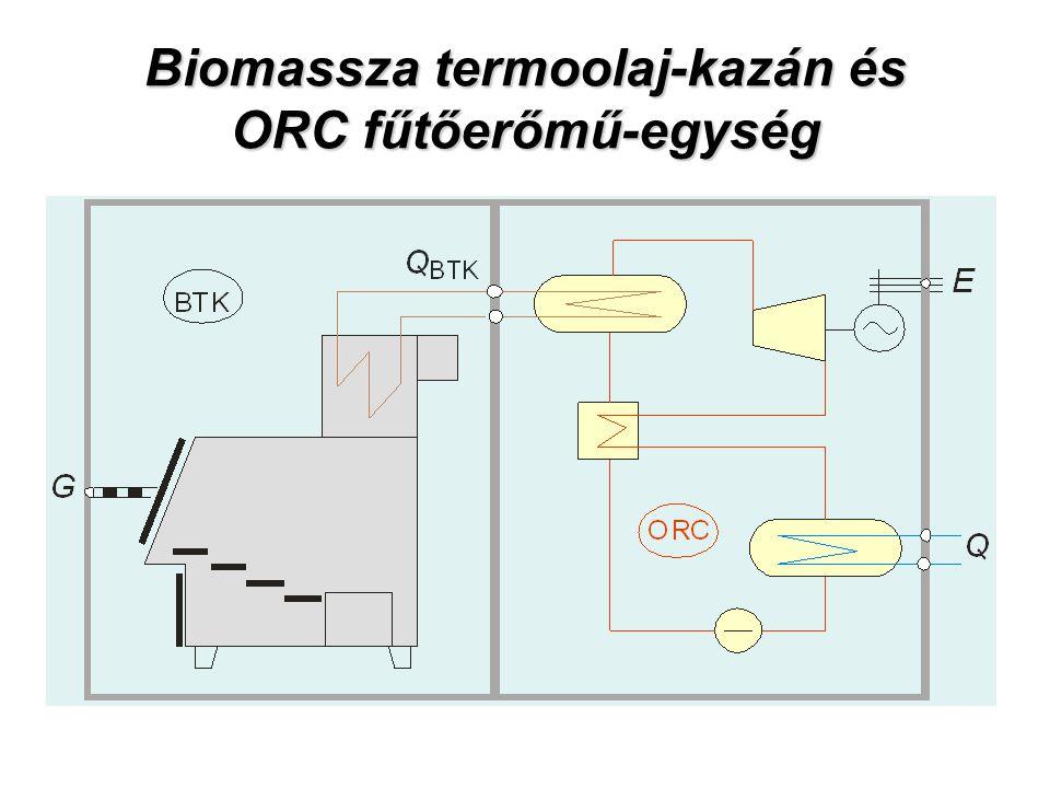 Biomassza termoolaj-kazán és ORC fűtőerőmű-egység