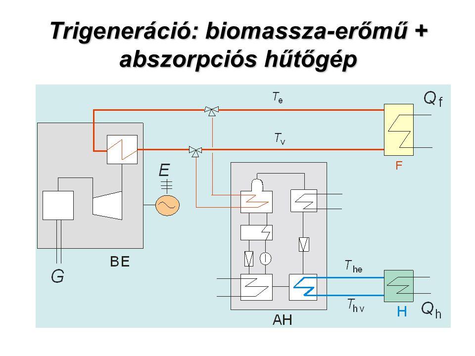 Trigeneráció: biomassza-erőmű + abszorpciós hűtőgép