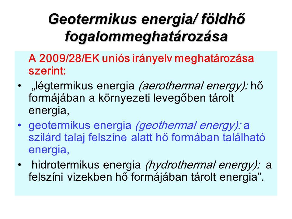 """Geotermikus energia/ földhő fogalommeghatározása A 2009/28/EK uniós irányelv meghatározása szerint: """"légtermikus energia (aerothermal energy): hő form"""