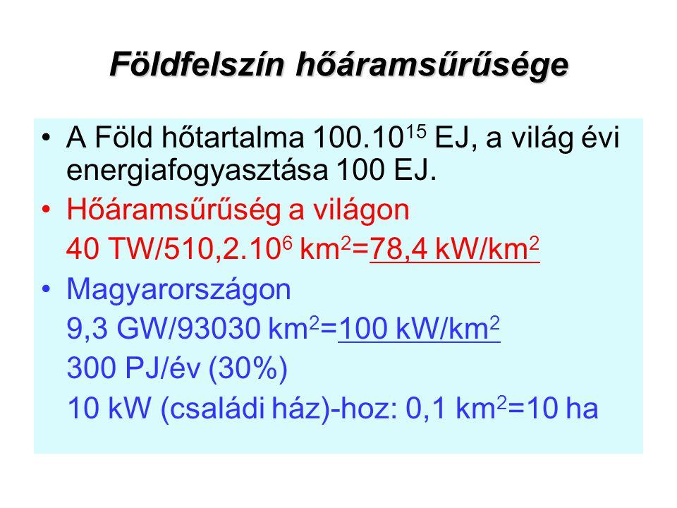 Földfelszín hőáramsűrűsége A Föld hőtartalma 100.10 15 EJ, a világ évi energiafogyasztása 100 EJ. Hőáramsűrűség a világon 40 TW/510,2.10 6 km 2 =78,4