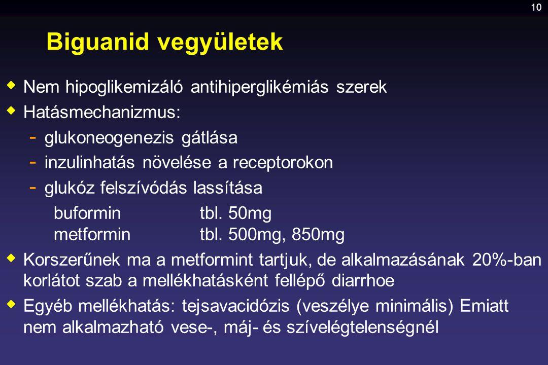 10 Biguanid vegyületek  Nem hipoglikemizáló antihiperglikémiás szerek  Hatásmechanizmus: - glukoneogenezis gátlása - inzulinhatás növelése a recepto