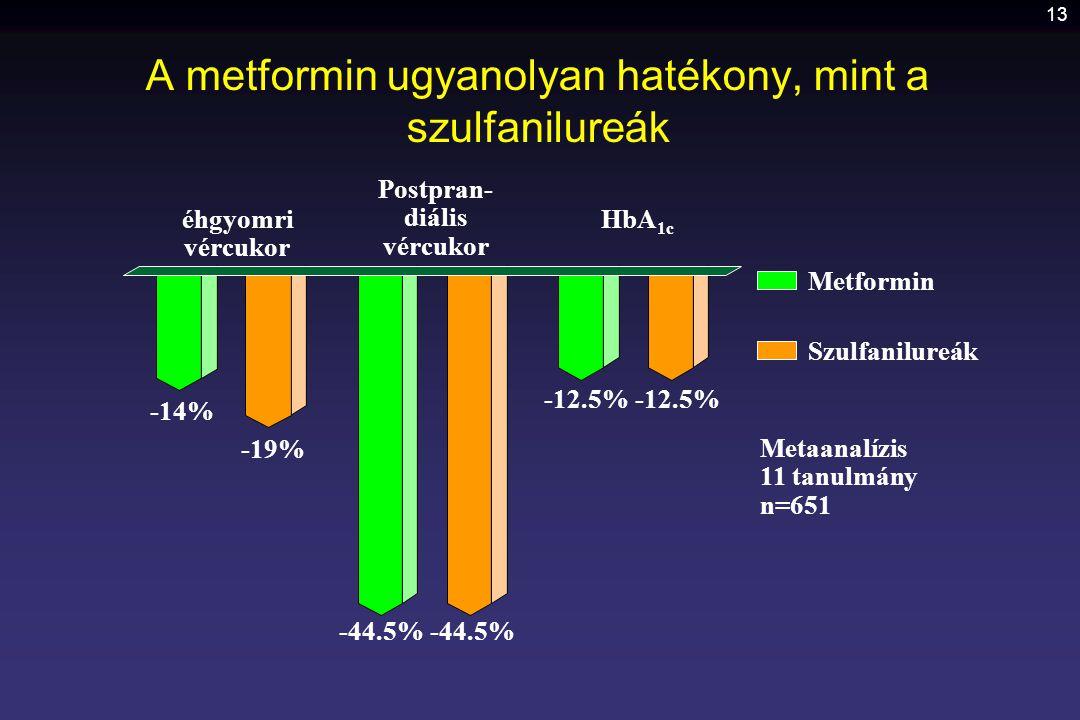 13 A metformin ugyanolyan hatékony, mint a szulfanilureák éhgyomri vércukor -44.5% -12.5% Postpran- diális vércukor HbA 1c -14% -19% Metformin Szulfan