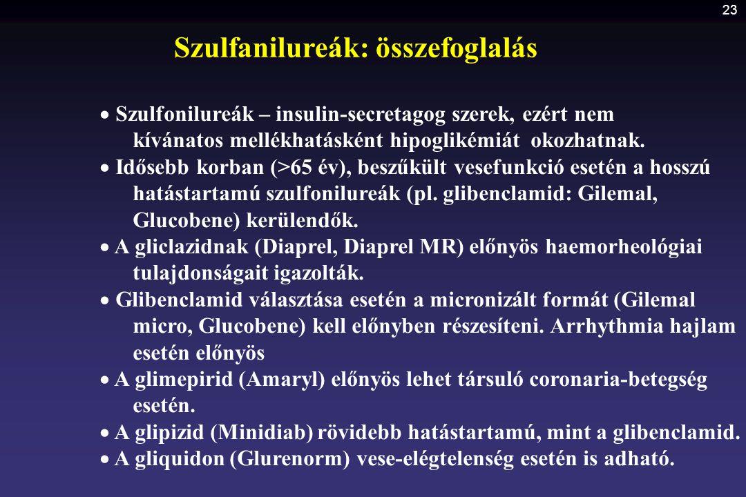 23  Szulfonilureák – insulin-secretagog szerek, ezért nem kívánatos mellékhatásként hipoglikémiát okozhatnak.  Idősebb korban (>65 év), beszűkült ve
