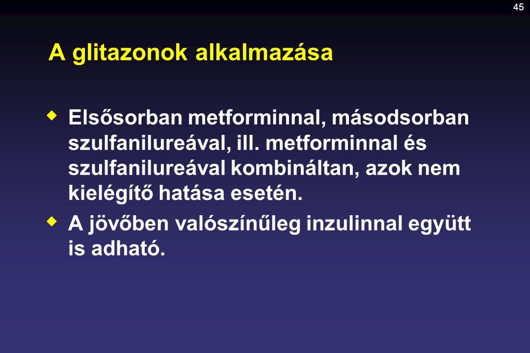 45 A glitazonok alkalmazása  Elsősorban metforminnal, másodsorban szulfanilureával, ill. metforminnal és szulfanilureával kombináltan, azok nem kielé