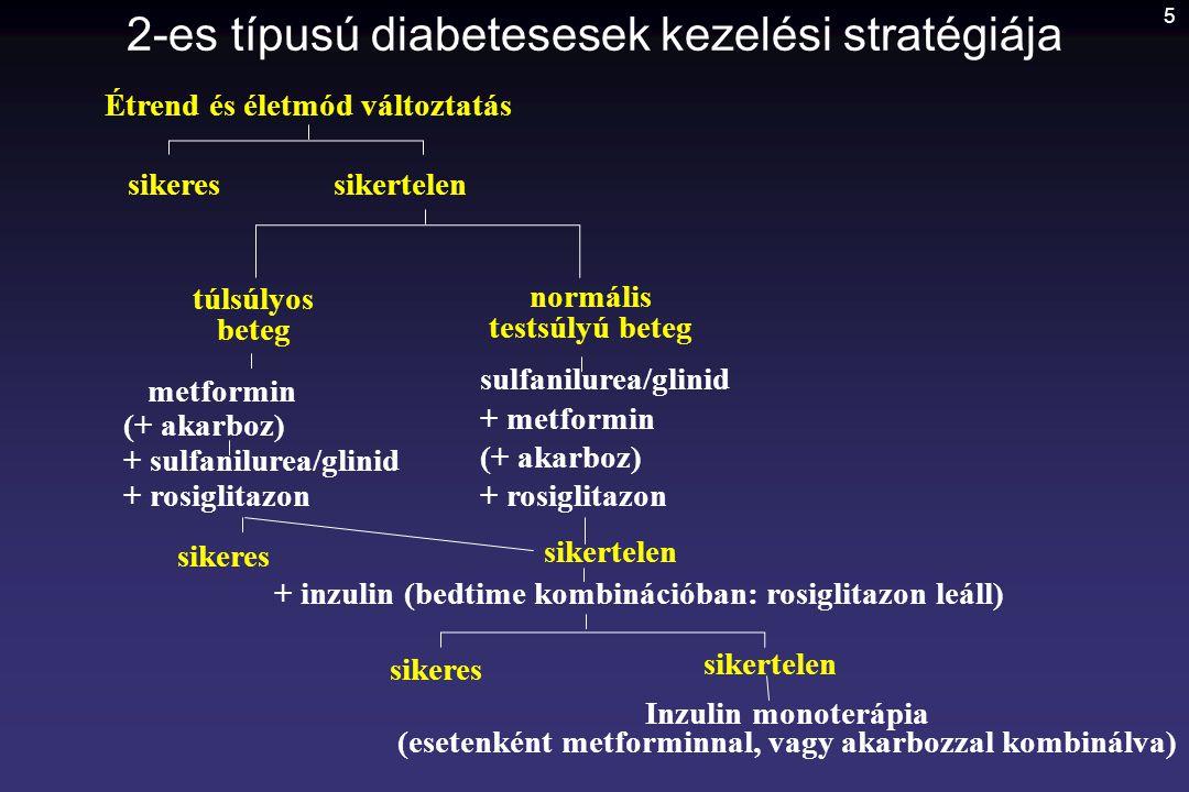 5 2-es típusú diabetesesek kezelési stratégiája Étrend és életmód változtatás sikeressikertelen túlsúlyos beteg normális testsúlyú beteg metformin (+