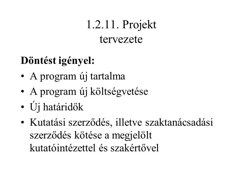 1.2.11. Projekt tervezete Döntést igényel: A program új tartalma A program új költségvetése Új határidők Kutatási szerződés, illetve szaktanácsadási s