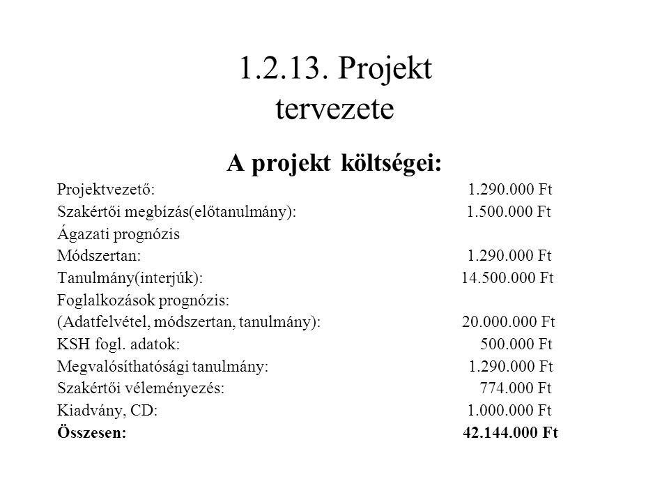 1.2.13. Projekt tervezete A projekt költségei: Projektvezető: 1.290.000 Ft Szakértői megbízás(előtanulmány): 1.500.000 Ft Ágazati prognózis Módszertan