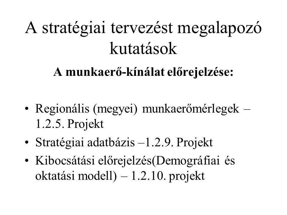 A stratégiai tervezést megalapozó kutatások A munkaerő-kínálat előrejelzése: Regionális (megyei) munkaerőmérlegek – 1.2.5. Projekt Stratégiai adatbázi
