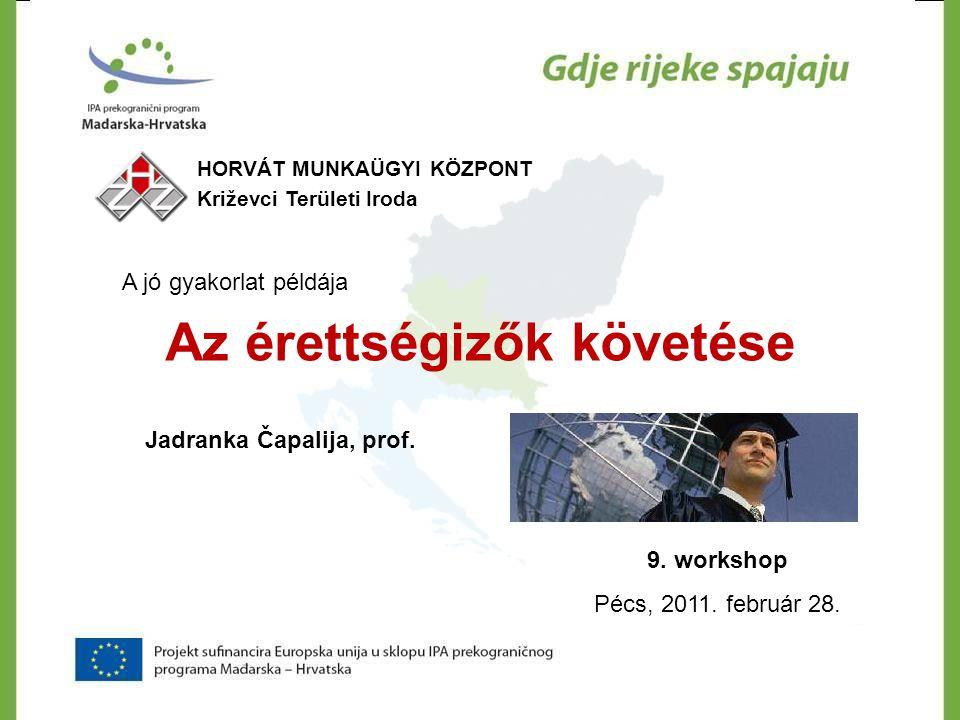 A jó gyakorlat példája Az érettségizők követése 9. workshop Pécs, 2011. február 28. HORVÁT MUNKAÜGYI KÖZPONT Križevci Területi Iroda Jadranka Čapalija