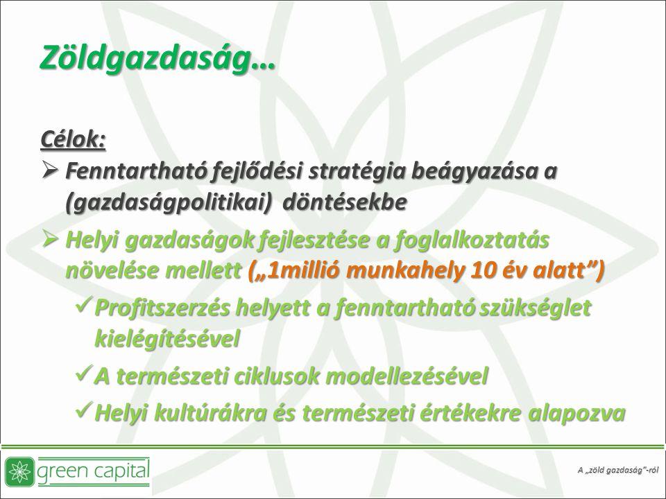 """Zöldgazdaság… Célok:  Fenntartható fejlődési stratégia beágyazása a (gazdaságpolitikai) döntésekbe  Helyi gazdaságok fejlesztése a foglalkoztatás növelése mellett (""""1millió munkahely 10 év alatt ) Profitszerzés helyett a fenntartható szükséglet kielégítésével Profitszerzés helyett a fenntartható szükséglet kielégítésével A természeti ciklusok modellezésével A természeti ciklusok modellezésével Helyi kultúrákra és természeti értékekre alapozva Helyi kultúrákra és természeti értékekre alapozva A """"zöld gazdaság -ról"""