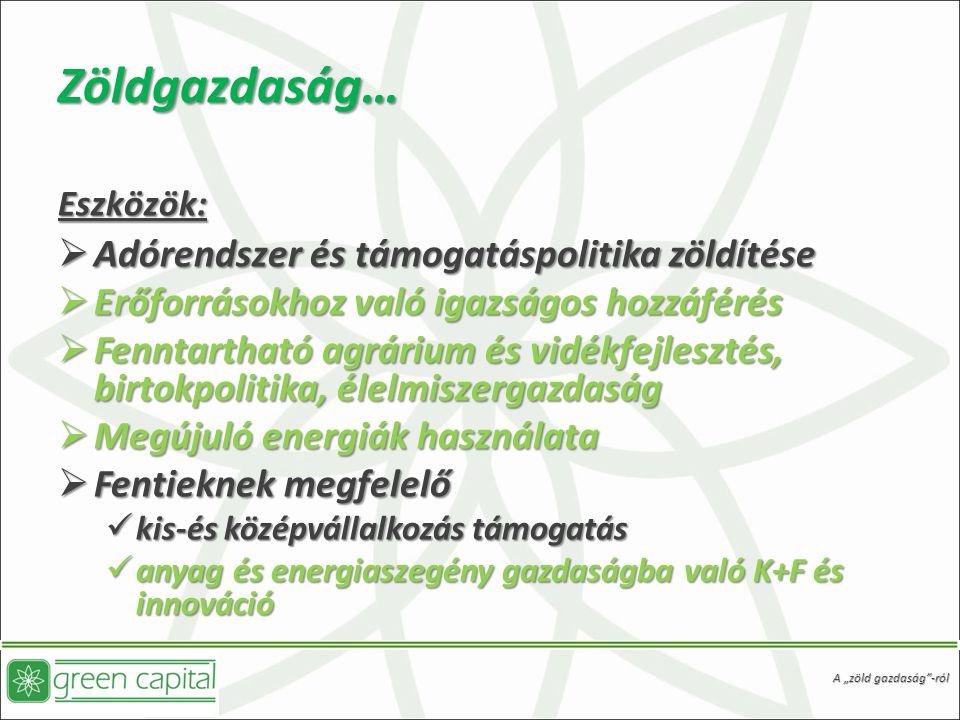 """Zöldgazdaság… Eszközök:  Adórendszer és támogatáspolitika zöldítése  Erőforrásokhoz való igazságos hozzáférés  Fenntartható agrárium és vidékfejlesztés, birtokpolitika, élelmiszergazdaság  Megújuló energiák használata  Fentieknek megfelelő kis-és középvállalkozás támogatás kis-és középvállalkozás támogatás anyag és energiaszegény gazdaságba való K+F és innováció anyag és energiaszegény gazdaságba való K+F és innováció A """"zöld gazdaság -ról"""