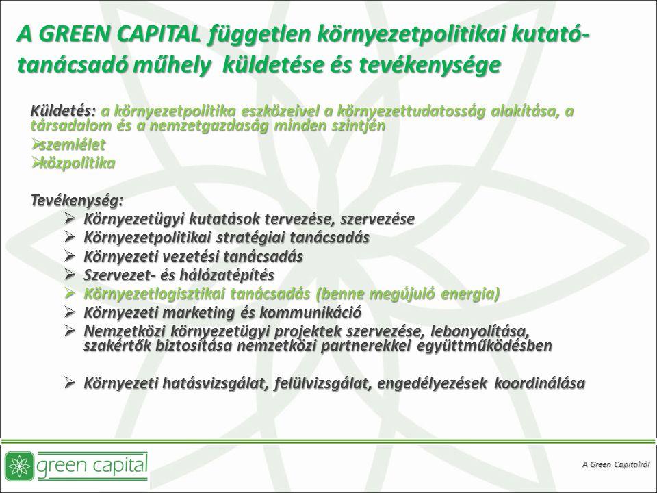 A GREEN CAPITAL független környezetpolitikai kutató- tanácsadó műhely küldetése és tevékenysége Küldetés: a környezetpolitika eszközeivel a környezettudatosság alakítása, a társadalom és a nemzetgazdaság minden szintjén  szemlélet  közpolitika Tevékenység:  Környezetügyi kutatások tervezése, szervezése  Környezetpolitikai stratégiai tanácsadás  Környezeti vezetési tanácsadás  Szervezet- és hálózatépítés  Környezetlogisztikai tanácsadás (benne megújuló energia)  Környezeti marketing és kommunikáció  Nemzetközi környezetügyi projektek szervezése, lebonyolítása, szakértők biztosítása nemzetközi partnerekkel együttműködésben  Környezeti hatásvizsgálat, felülvizsgálat, engedélyezések koordinálása A Green Capitalról