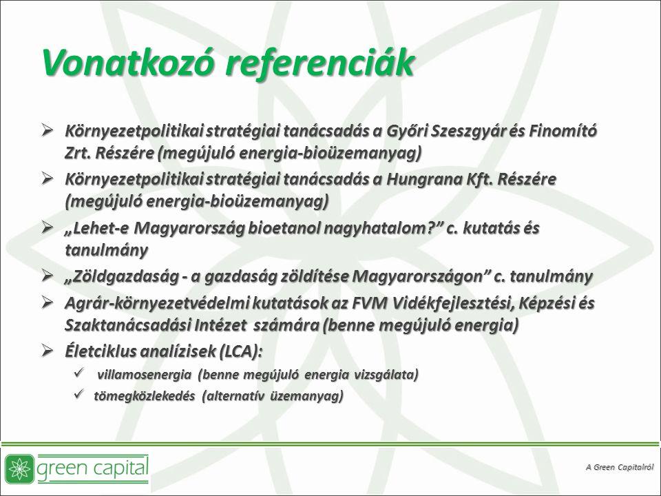 Vonatkozó referenciák  Környezetpolitikai stratégiai tanácsadás a Győri Szeszgyár és Finomító Zrt.